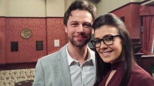 Leon Ockenden and Kym Marsh on set