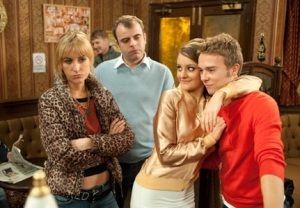 Becky Steve Kylie and David in the Rovers