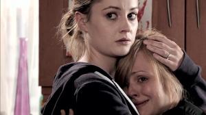 Kylie comforts Sarah Coronation Street