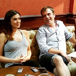 Kym Marsh and Simon Gregson at the Corrie Press Day Manchester 22 July 2016