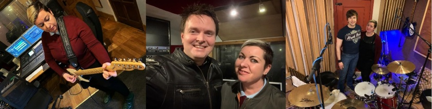 Emma Hynes, Martin Quinn and Andrew Quinn at Jam Studios